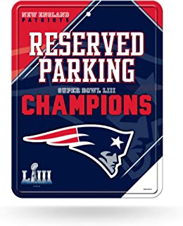 Rico Industries NFL New England Patriots Super Bowl LIII Champions 8-Inch by 11-Inch Metal Parking Sign Décor, Blue