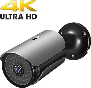 FULUVA UltraHD 4K (8MP) Outdoor Bullet POE IP Camera, 3840x2160, 130ft NightVision, IP67 Weatherproof, Heavy Duty Housing, 3.6mm Lens Wide Angle, Onvif (Black)