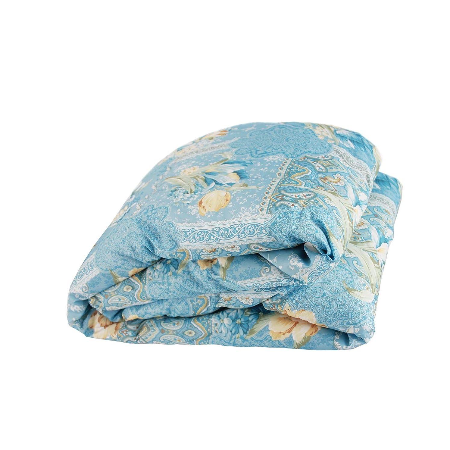軍隊対抗行政SNOWMAN 洗える ダウンケット シングル ホワイトダウン90% 夏用 羽毛 肌掛け布団 お布団と重ね着で1年中使える 2倍の洗浄度 抗菌 防臭 防ダニ 吸湿?放湿性に優れ 爽やかな寝心地 肌掛け 羽毛布団 150×210cm 花柄 ブルー