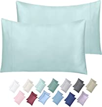 600 Thread Count 100% Cotton Pillow Cases, Spa Standard Pillowcase Set of 2, Long - Staple Combed Pure Natural Cotton Pillows for Sleeping, Soft & Silky Sateen Weave Bed Pillow Covers