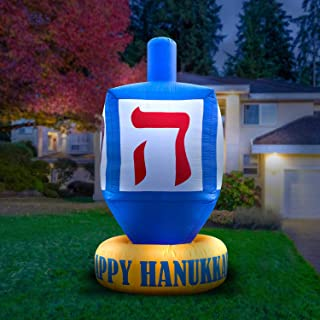 Holidayana 8ft Inflatable Dreidel Hanukkah Decoration | with Built-in Bulbs, Tie-Down Points, and Powerful Built in Fan