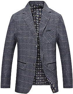 Men's Blazer Fashion Woven Plaid Long Sleeve Lapel Button Comfortable Sizes Suit Coat Outwear Leisure Suit Coat Clothing