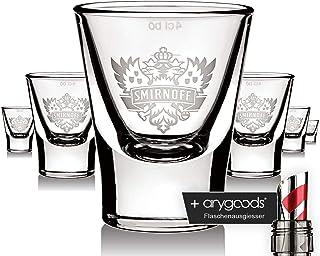 6 x Smirnoff Glas Gläser Vodka Shotglas Adler Logo Edition Schnapsglas NEU  anygoods Flaschenausgiesser
