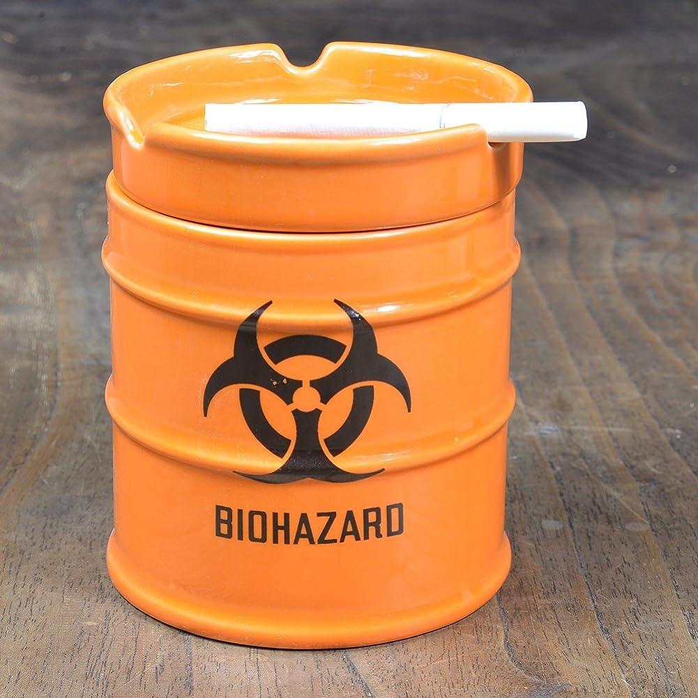 流暢観光に向かって灰皿 ドラム缶 BIOHAZARD 陶器製 オレンジ