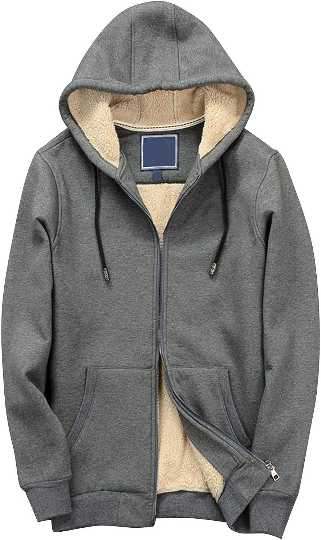 Yeokou Men's Casual Solid Sherpa Lined Zip Up Hooded Sweatshirts Jackets Coat