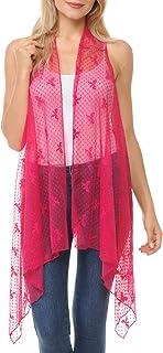 Innerest Basico Women's Open Asymmetrical Hem Print Chiffon Vest Cardigan