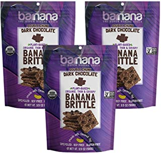 Barnana Organic Crunchy Banana Cookie Brittle - Double Chunk Dark Chocolate - 3.5 Ounce, 3 Pack Brittle - Healthy Vegan Dessert Snack - Made with Sustainable, Eco Friendly Upcycled Bananas