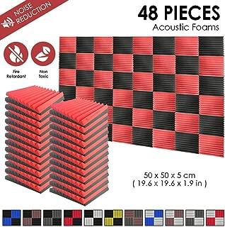 スーパーダッシュ 新しい 48 ピース 500 x 500 x 50 mm 吸音材 ウェッジ 防音 吸音材質ポリウレタン SD1134 (黒と 赤)