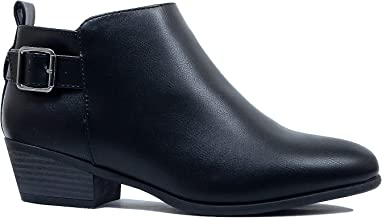 Guilty Heart Chelsea Low Top Almond Toe Bootie - Low Stack Heel Side Panel Zipper Buckle Ankle Boot