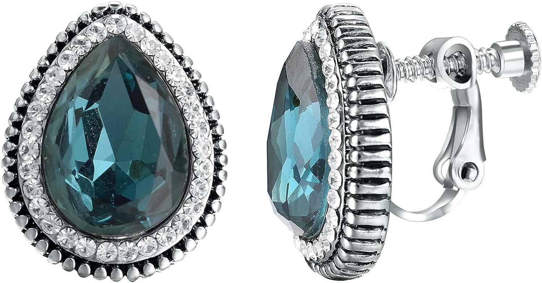 Yoursfs Bridal Crystal Diamond Rhinestone Clip on Earrings For Women 18k Rose Gold Plated Non Pierced Earrings