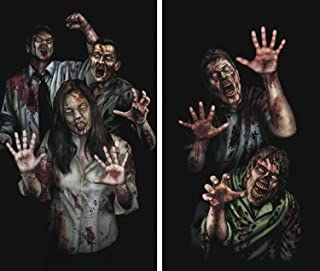 Window Poster Halloween Zombie Asylum by WOWindows USA-made Decoration Includes 2 Reusable 34.5