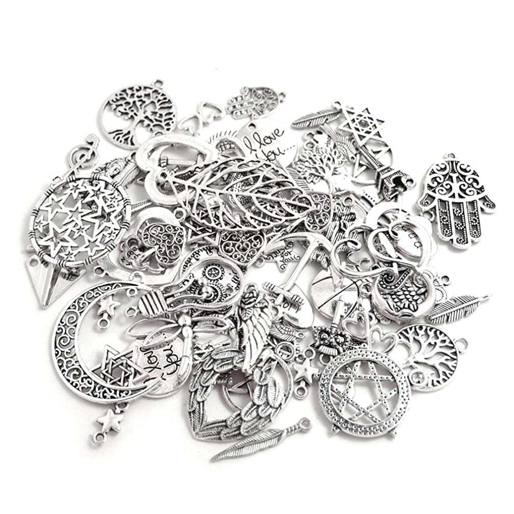 BronaGrand 100 Gram Assorted Antique Silver Alloy Charms Pendants Beads Charms Chains Connectors for Crafting, Findings Jewelry Making DIY Accessory Mix 60-80pcs