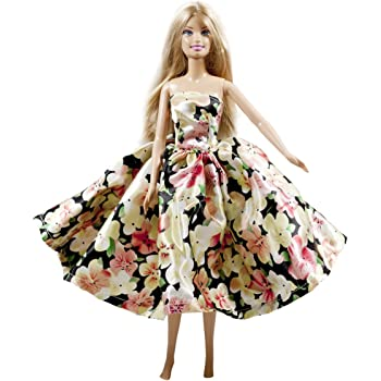Peregrine Blue Silk Satin Strapless Damask Pattern Fit and Flare Floor Length Gown for 11.5 inches Dolls