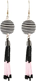 El Allure Pink And Black Preciosa Jablonex Seed Bead Fringe Tassel Drop Earring With Trendy Handmade Cotton Cord Wrapped Ball Earring For Women