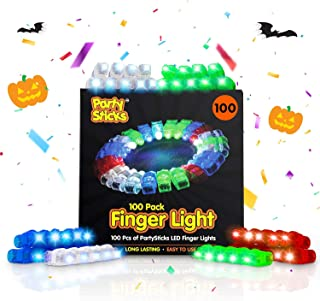 PartySticks Light Up Rings LED Finger Lights - 100pk Flashing Glow Rings, Wearable Party Favors and Party Supplies for Kids and Adults