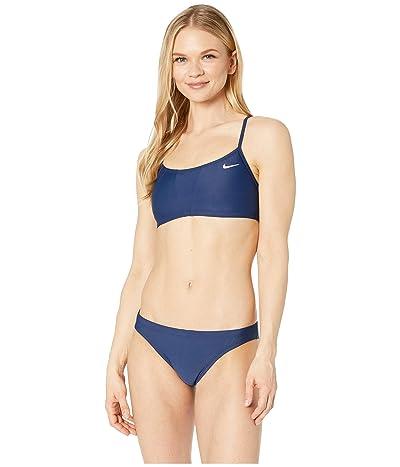 Nike Solid Racerback Bikini Top Set (Midnight Navy) Women