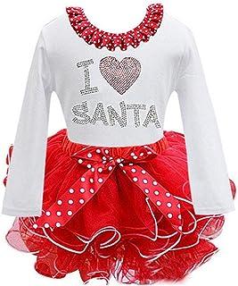 73a89e6e1 Kfnire traje de navidad de bebé niña de manga larga vestido de princesa  santa claus ropa