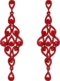 EVER FAITH Women's Austrian Crystal Bohemia Hollow-out Retro Chandelier Teardrop Dangle Earrings
