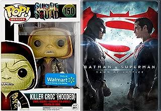 SUperBAt Killer Croc DC Villain Figure + Batman V Superman DVD Movie vinyl exclusive pop heroes series Dawn of Justice