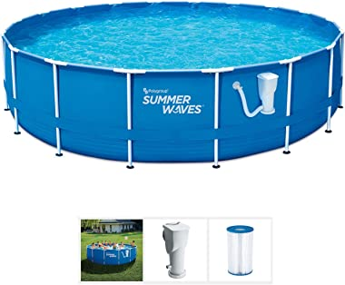 Summer Waves Active 10 Foot x 30 Inch Metal Frame Outdoor Backyard Above Ground Swimming Pool Set with Filter Pump, Type I Ca