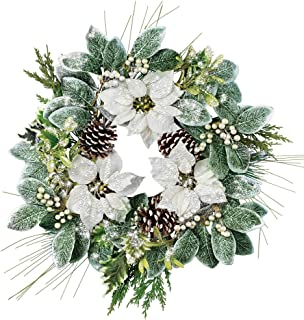 Collections Etc Frosted White Poinsettia and Evergreen Wreath with Glittered Leaves - Seasonal Home Decor