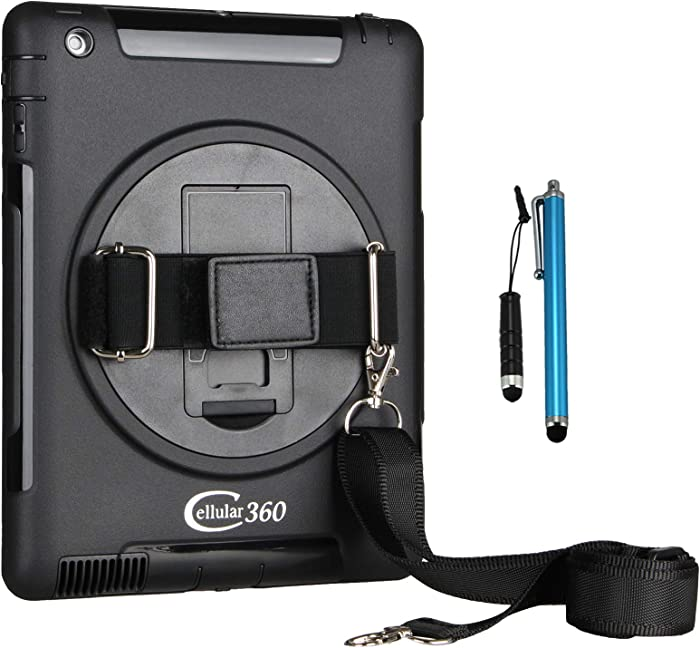 Cellular360 Shockproof Case for iPad Air 2 2014, Car Headrest Mount Case with 360 Degree Rotatable Kickstand, Elastic Handle and Shoulder Strap Combo