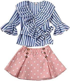 Kids Baby Girls Skirt Set Striped Ruffle Flared Long Sleeve Shirts Top + Polka Dot Tutu Skirts Party Dress Outfit Set (Blue Striped, 2-3 Years)