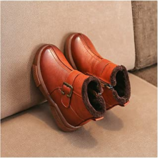 HK Children's Leather Short Boots, Autumn And Winter Boys 'cotton Shoes, Girls' Martin Boots With Velvet Snow Cotton Boots
