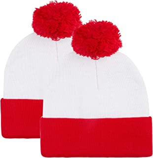 white and red beanie