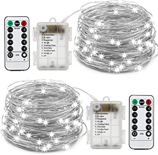 XINGPOLD 2 Set Fairy String Lights Battery Operated Waterproof 8 Modes Twinkling 100 LED String Lights 33FT Copper Wire Firefly Lights Remote Control for Bedroom Wedding Festival Decor (White)