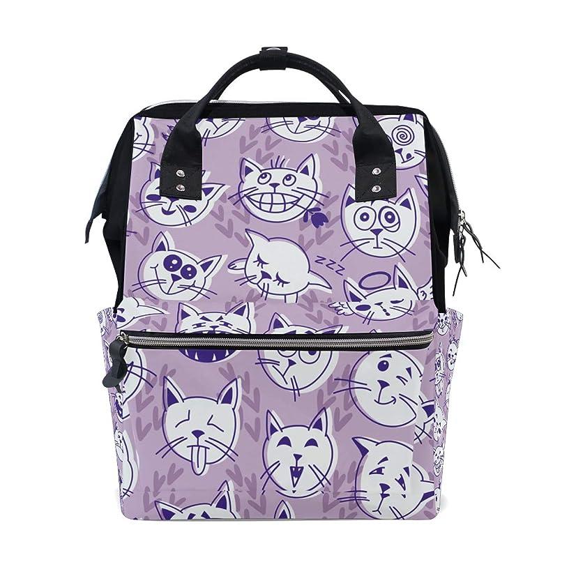 Cute White Cats Face School Backpack Large Capacity Mummy Bags Laptop Handbag Casual Travel Rucksack Satchel For Women Men Adult Teen Children
