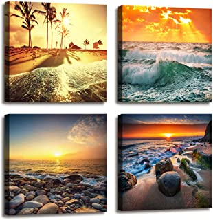 Ocean Beach Home Decor Canvas Prints for Bedroom Decor,Beautiful Seascape Nature Composition of Sea Sunset,Colorful Sunset Over Ocean on Maldives,HD Pictures for Living Room Bathroom Decor 4 pcs/Set