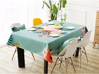 HXC Home Turquoise Vert Bleu Fleur Fleuri Nappe Coton Linge Minimaliste Moderne Table à Manger Bureau rectangulaire Ronde ...