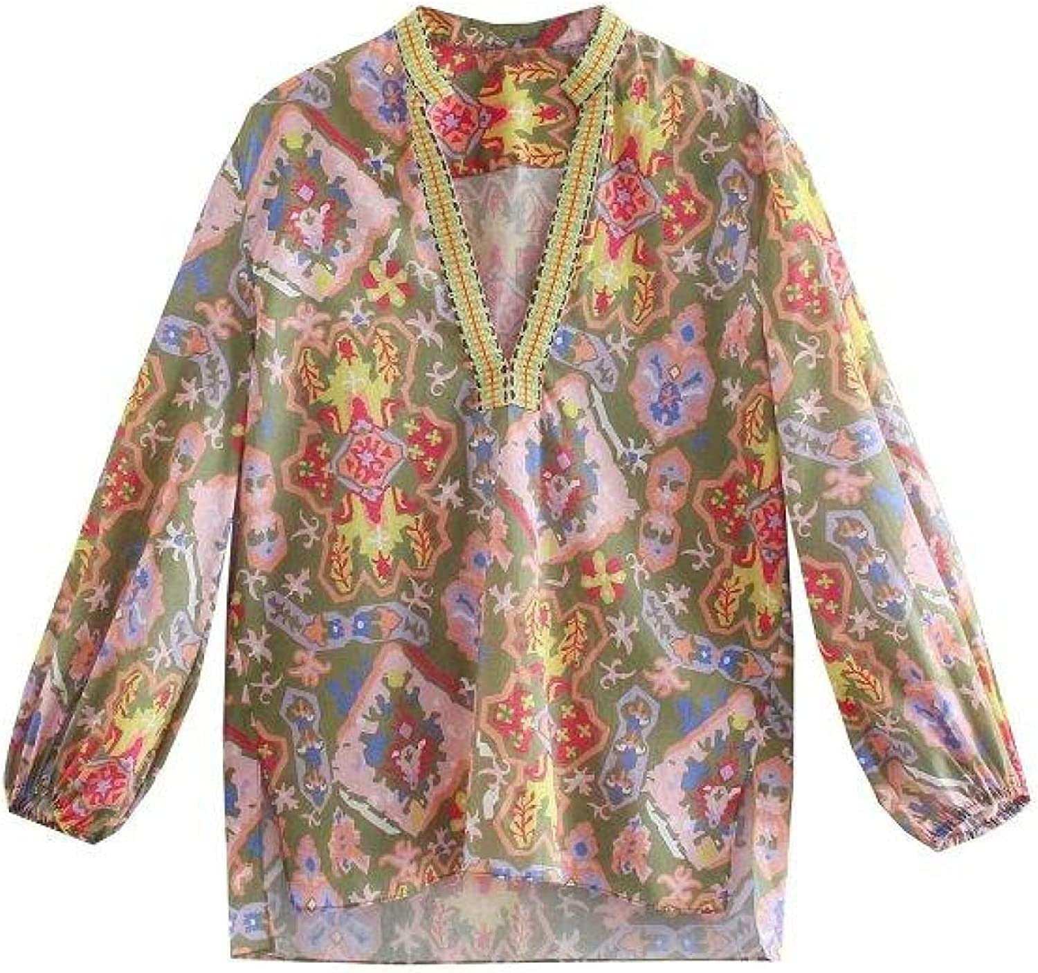 Vintage V Neck Embroidery Patchwork Floral Totem Seattle Mall Max 60% OFF Ki Print Blouse
