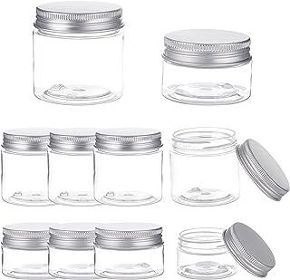 BENECREAT 16 Pack 2oz/1oz Clear PET Plastic Storage Containers Jars with Aluminum Screw Caps for Cosmetics, DIY Arts Craf...