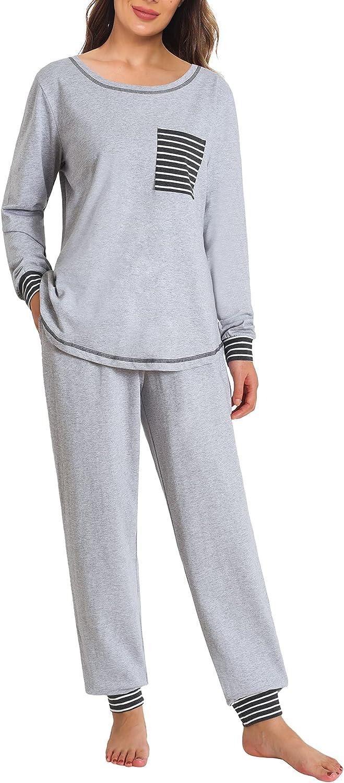 Latuza Women's Cotton Pajama Set Long Sleeve Sleepwear