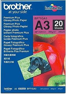 Brother BP71GA3 - Pack de 20 hojas de papel fotográfico Glossy Premium A3 (260 g/m2)