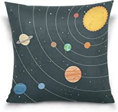 "MASSIKOA Solar System Decorative Throw Pillow Case Square Cushion Cover 18"" x 18"" for Couch, Bed, Sofa or Patio - Only Cas..."