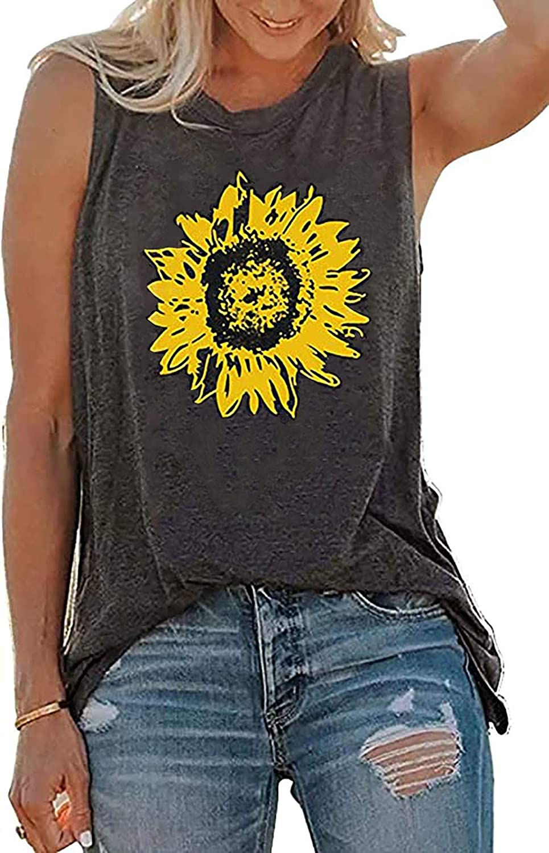 Women O Neck Tank Top Sunflower Print Tees Top Summer Graphic Sleeveless T Shirt Casual Vest Tuncis Blouse