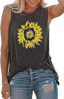 Sunflower Tank Tops Women Sunflower Print Shirt Summer Graphic Cute Tee Tops Vest Sleeveless Casual Vacation T Shirt