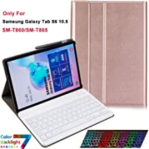 Keyboard Case for Samsung Galaxy Tab S6 10.5 2019 SM-T860 T865, 7 Color Backlights Slim Lightweight Magnetic Detachable Wireless BT Backlit Keyboard Cover Case for Galaxy Tab S6 10.5 2019 - Rose Gold