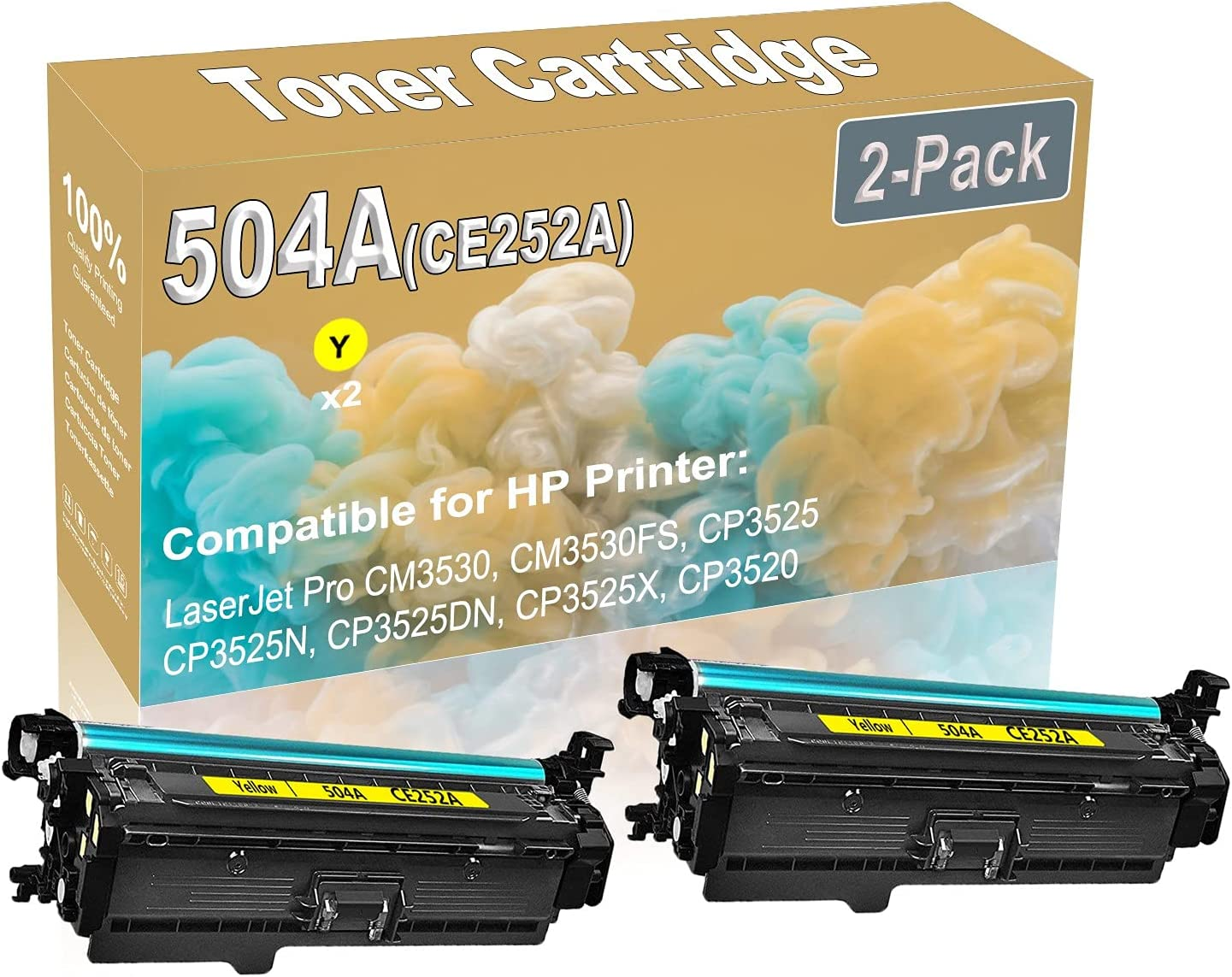 2-Pack (Yellow) Compatible High Yield 504A (CE252A) Printer Toner Cartridge use for HP CM3530 CM3530FS Printers
