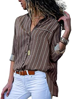 UUYUK Women Long Sleeve Button Down Stripe Casual Tops Blouse Shirt