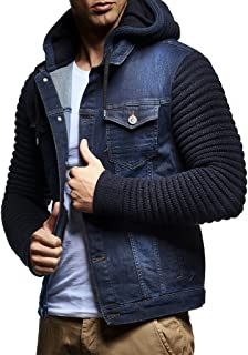 LN5240 Men's Denim Jacket with Knitted Sleeves