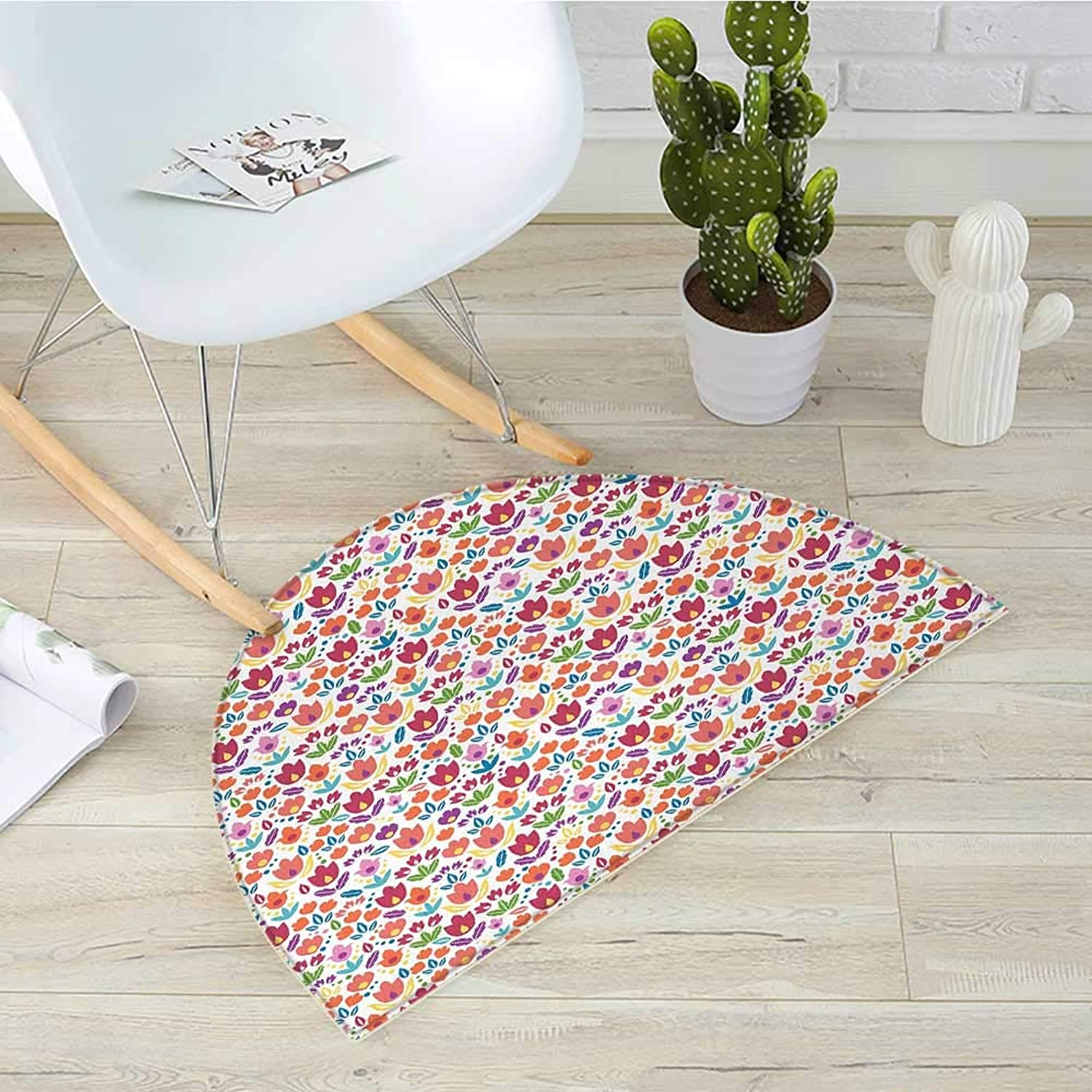 Dutch Semicircular CushionBlooming Tulips Rural Country Abstract Floral Illustration Ornamental Petals Foliage Entry Door Mat H 43.3  xD 64.9  Multicolor
