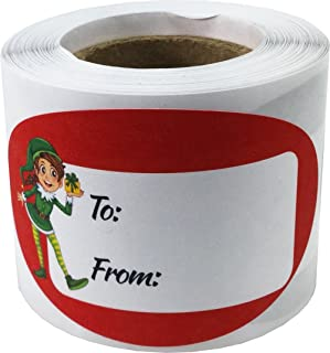 Elf Presents Gifts Tags Christmas Holiday to from Labels 1 1/2 x 2 1/2 Inch 100 Total Stickers