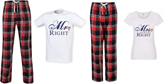60 Second Makeover Limited Mr Right Mrs Always Right Couples Matching Pyjama Tartan Set Couples Twinning Family