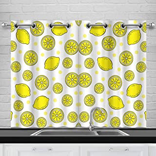 INTERESTPRINT Lemons Cute Fruits Bedding Blackout Room Darkening and Thermal Insulating Window Curtains, 2 Panels Set, 26x39 Inch with Grommets