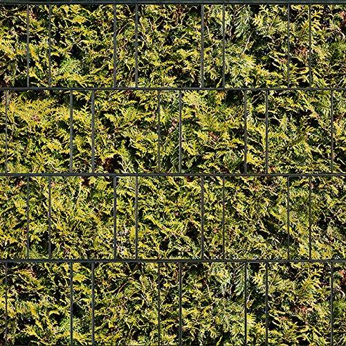 Bedruckter Sichtschutzstreifen für Doppelstabmatten Zaun auf Rolle inkl. 25 Klemmschienen (Lebensbaum gelb)