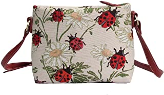 Red Ladybug and Daisy Pattern Women's Fashion Canvas Tapestry Mini Satchel Cross-body Purse Bag with Adjustable Strap also...